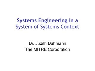 Systems Engineering in a  System of Systems Context