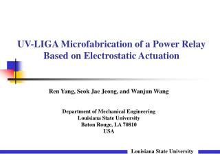 UV-LIGA Microfabrication of a Power Relay Based on Electrostatic Actuation