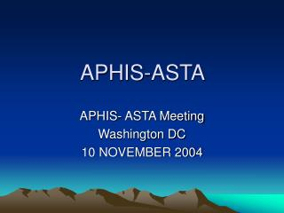 APHIS-ASTA
