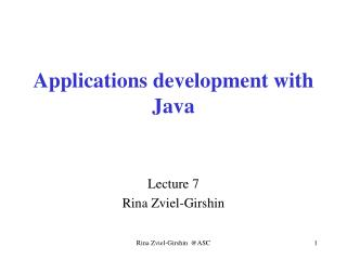 Applications development with  Java