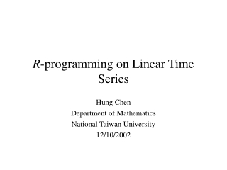 CHAPTER 2  UNIVARIATE LINEAR STOCHASTIC PROCESS