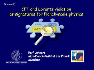 CPT and Lorentz violation as signatures for Planck-scale physics