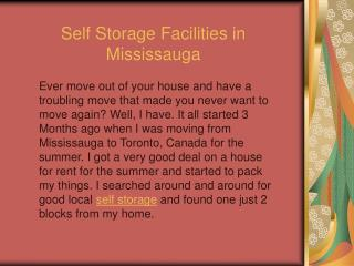 Self Storage Facilities in Mississauga