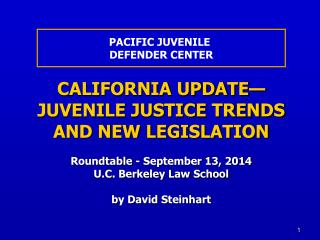 CALIFORNIA UPDATE—  JUVENILE JUSTICE TRENDS AND NEW LEGISLATION Roundtable - September 13, 2014
