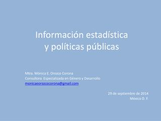 Información estadística  y políticas públicas