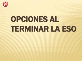 OPCIONES AL TERMINAR LA ESO