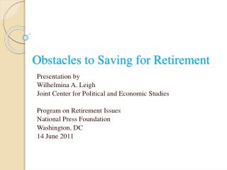 Obstacles to Saving for Retirement