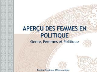 APERÇU DES FEMMES EN POLITIQUE  Genre, Femmes et  Politique