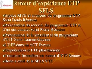 Retour d'expérience ETP SFLS