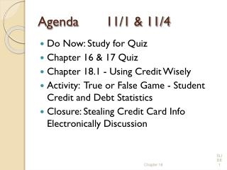 Agenda11/1 & 11/4