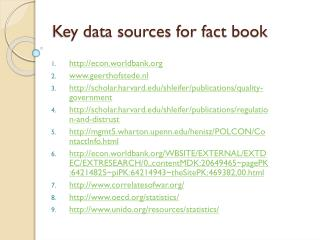 Key data sources for fact book