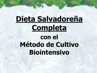 Dieta Salvadore a Completa   con el M todo de Cultivo Biointensivo