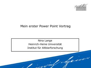 Mein erster Power Point Vortrag