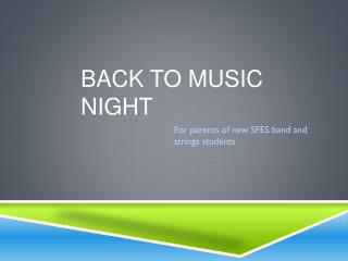 Back to music night