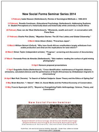 NSF seminar series 1st semester 2014