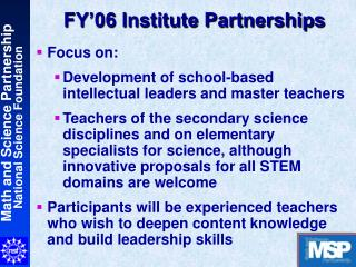 FY'06 Institute Partnerships