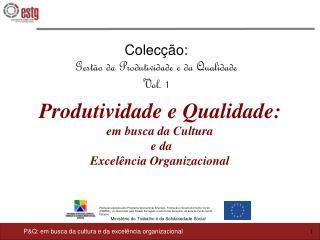 Colecção: Gestão da Produtividade e da Qualidade  Vol. 1