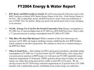 FY2004 Energy & Water Report