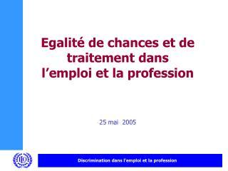 Egalité de chances et de traitement dans l'emploi et la profession 25 mai  2005