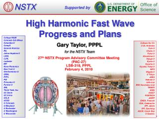 High Harmonic Fast Wave Progress and Plans