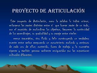 PROYECTO DE ARTICULACIÓN