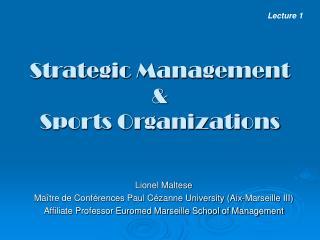 Strategic Management   Sports Organizations