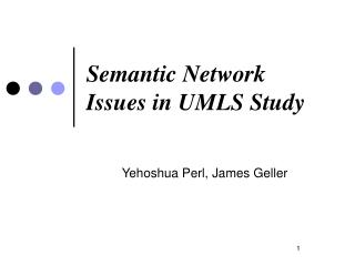 Semantic Network Issues in UMLS Study