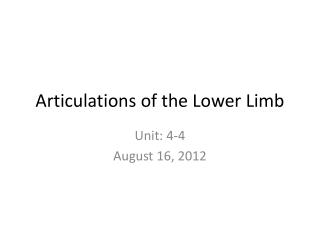 Articulations of the Lower Limb