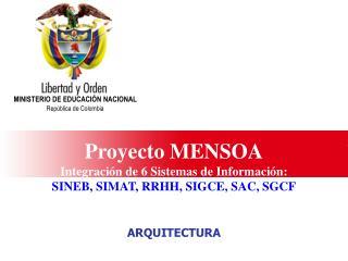 Proyecto MENSOA Integración de 6 Sistemas de Información: SINEB, SIMAT, RRHH, SIGCE, SAC, SGCF