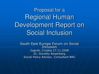 Proposal for a Regional Human Development Report on Social Inclusion