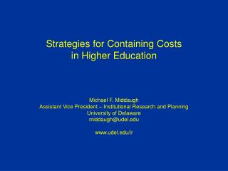 Strategies for Containing Costs in Higher Education