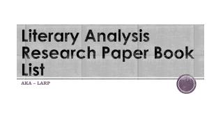 Literary Analysis Research Paper Book List