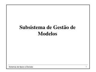 Subsistema de Gest�o de Modelos