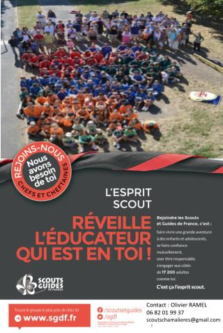 Contact : Olivier RAMEL 06 82 01 99 37 scoutschamalieres@gmail