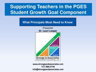Supporting Teachers in the PGES Student Growth Goal Component