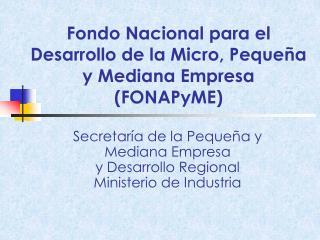 Fondo Nacional para el Desarrollo de la Micro, Peque�a y Mediana Empresa  (FONAPyME)