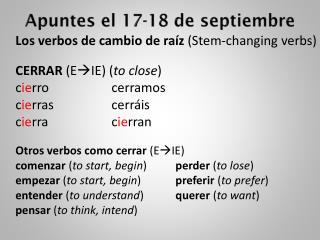 Apuntes el  17-18  de septiembre