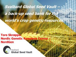 Svalbard Global Seed Vault �   a back-up seed bank for the world�s crop genetic resources