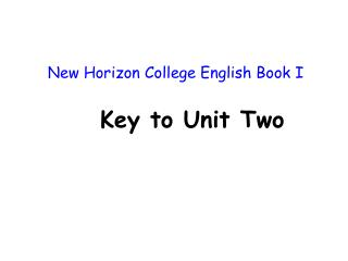 New Horizon College English Book I