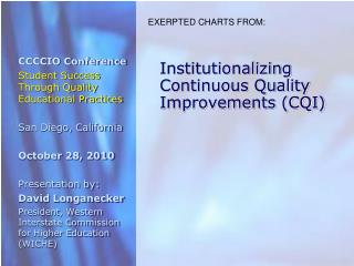 Institutionalizing Continuous Quality Improvements (CQI)