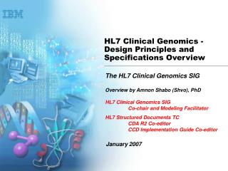 HL7 Clinical Genomics - Design Principles and Specifications Overview
