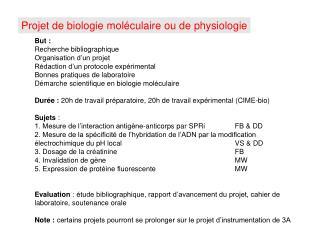 Projet de biologie moléculaire ou de physiologie