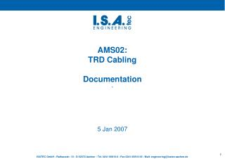 AMS02:  TRD Cabling Documentation