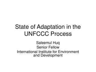 State of Adaptation in the UNFCCC Process