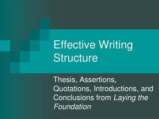 Effective Writing Structure