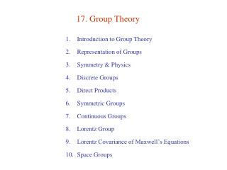 17. Group Theory