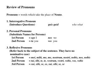 Review of Pronouns Pronouns  = words which take the place of  Nouns . 1. Interrogative Pronoun