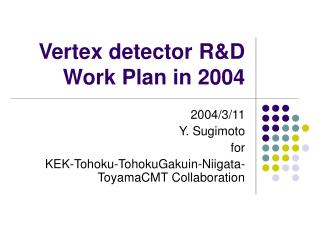 Vertex detector R&D Work Plan in 2004