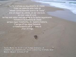 Texto: Mateo 16, 21-27 // 22 Tiempo Ordinario –A-.