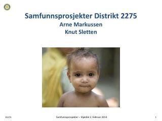Samfunnsprosjekter Distrikt 2275 Arne Markussen Knut Sletten